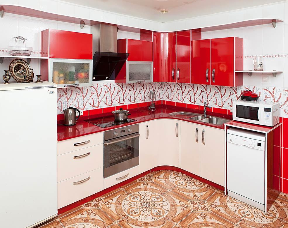 красно-бежевая-кухня