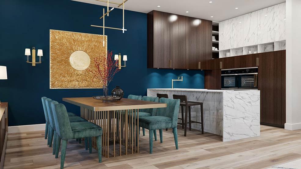 тёмно-синяя-стена-на-кухне