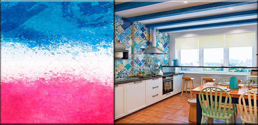 розово-голубая-кухня
