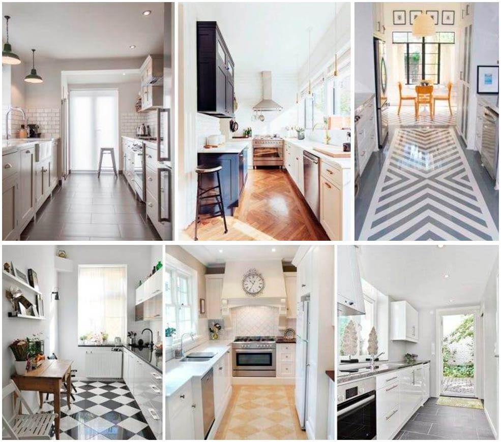 Дизайн-узкой-кухни-плитка-на-полу