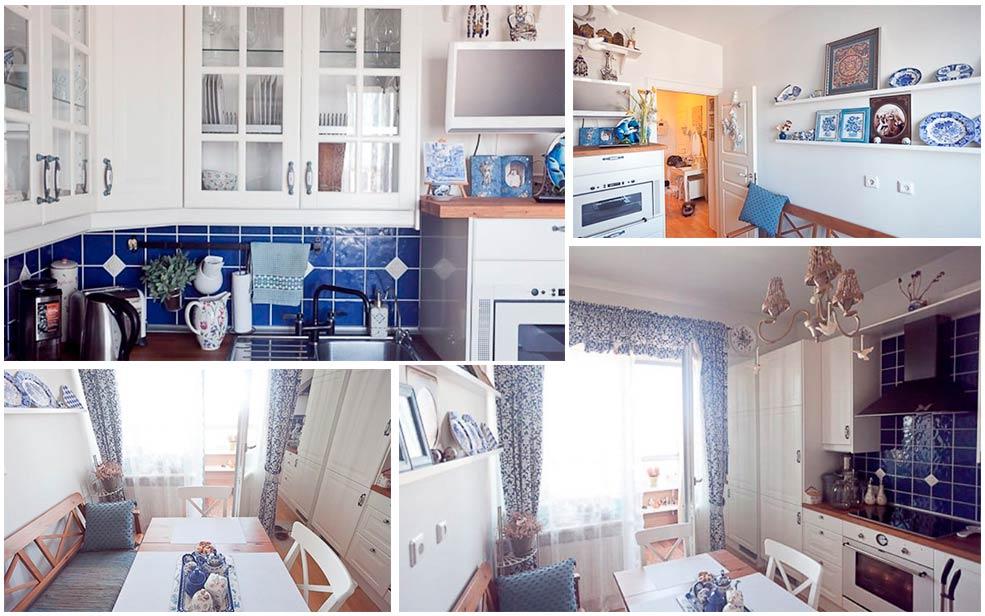 Интерьер-бело-синей-кухни-с-посудой
