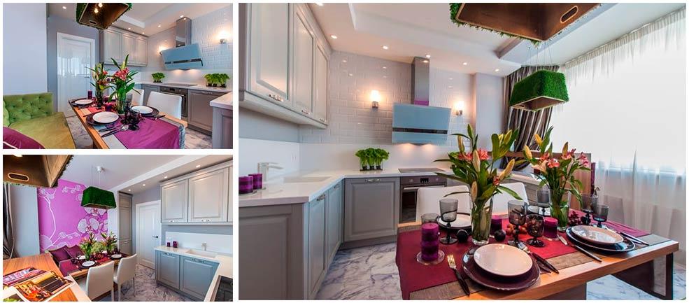 Интерьер-бежевой-кухни-с-зелеными-и-розовыми-акцентами