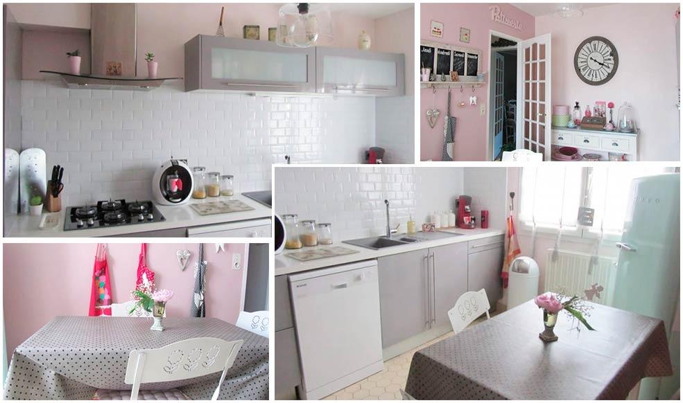 Серо-розовая-кухня