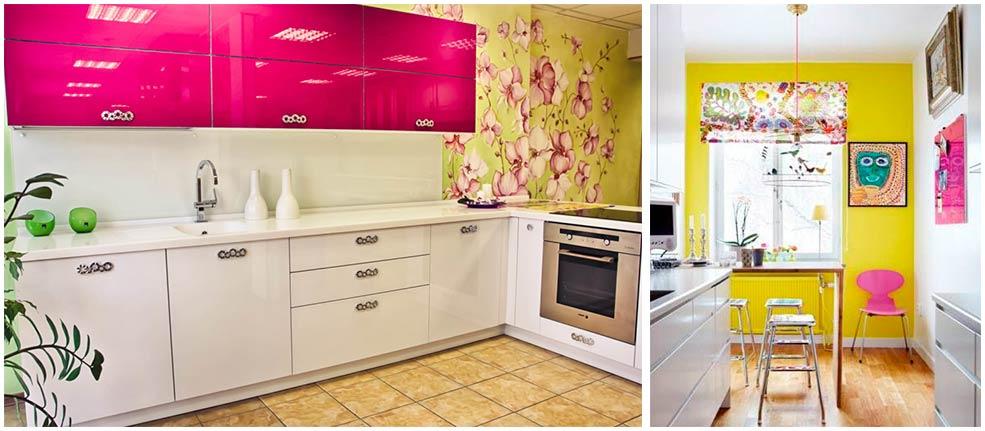 Сочетание-желтого-и-розового-в-интерьере-кухни