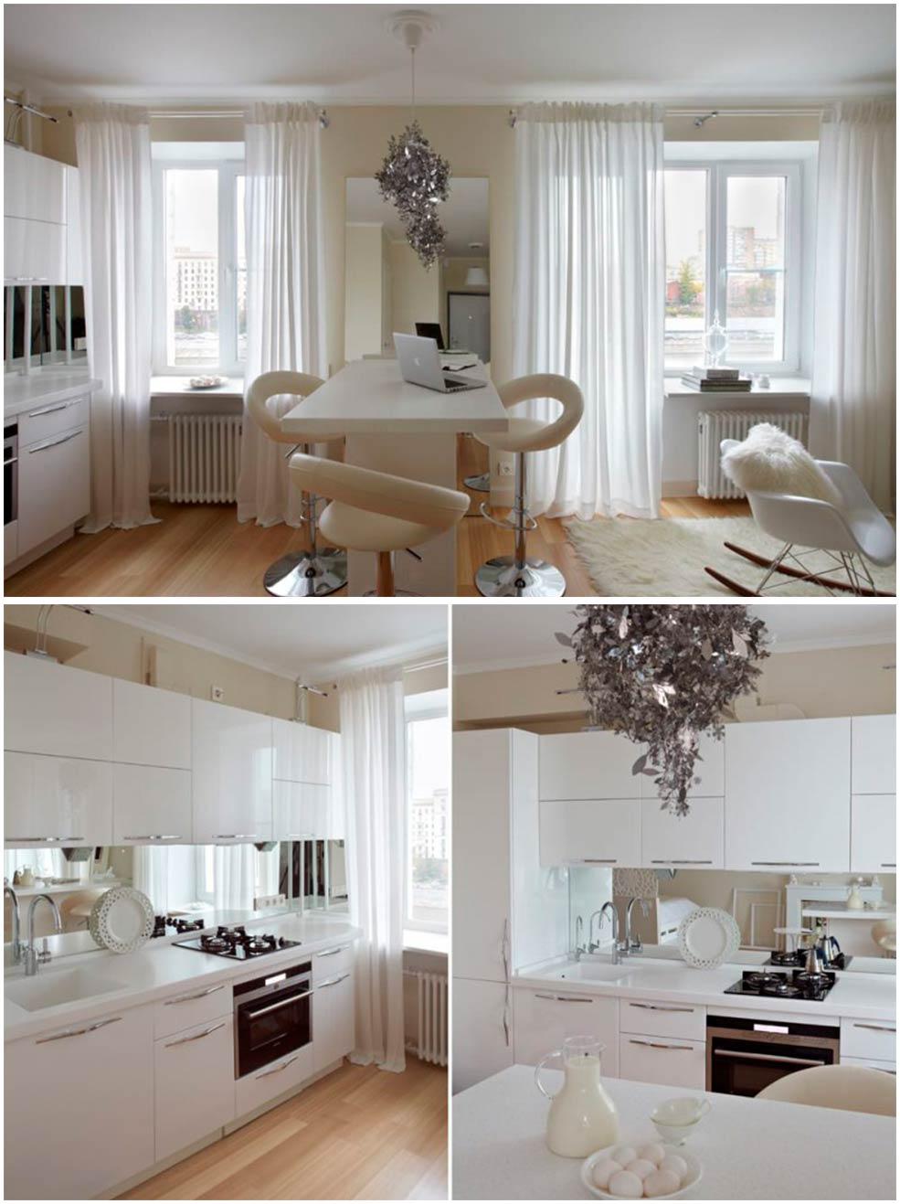 Зеркало-в-интерьере-маленькой-кухни-гостиной