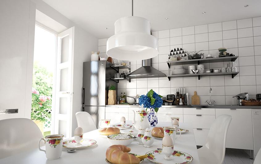 кухня-белая-прямая