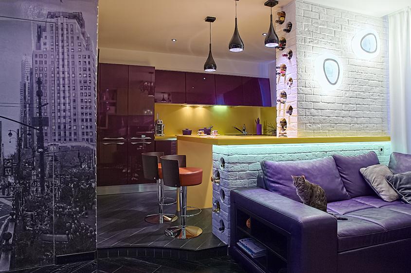 жёлто-фиолетовая-кухня
